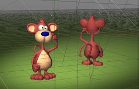 卡通動漫舞臺中滑稽可愛的猴子MonkeyC4D人物角色模型
