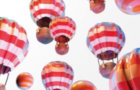 英國布里斯托國際熱氣球節繽紛多彩熱氣球宣傳展示C4D模型