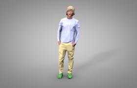 帶鴨舌帽的運動人士多邊形低面體人物設計C4D模型