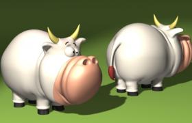 两头肥硕的奶牛卡通游戏动画NPC角色C4D模型