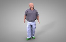 健壮的中年光头男性人物图像低面体c4d模型