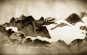 水墨画风白云笼罩着的雄山上屹立着棵棵碧绿的翠松古风视频