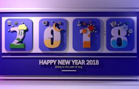 卡通艺术字2018新年欢庆室内装饰图文设计曼妙冬季3D墙纸C4D模型下载