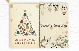 可爱动物风格创意圣诞节卡通画册封面设计