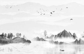 古風特效水墨畫風高山下清澈的河面飄過一艘小船視頻素材下載