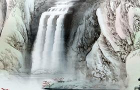 特效水墨画白鹤高飞于空中瀑布飞流直下古风视频素材