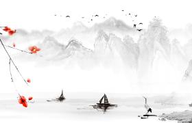 水墨画风清澈河面上飘过两艘小船岸边白鹤正在戏水古风视频
