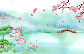 唯美仙境小桥下白雾四起的池塘中盛开着鲜艳的荷花古风视频下载
