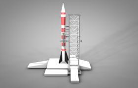 中国火箭卫星发射中心低面体场景C4D模型下载