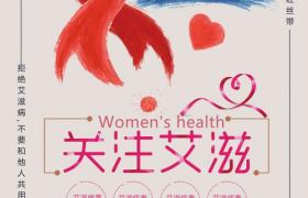 創意手繪紅絲帶符號關注艾滋12月1日艾滋病日海報宣傳素材下載