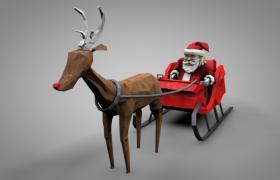 红鼻子的鲁道夫拖着圣诞老人节日卡通形象商场促销装饰C4D模型