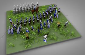 要塞十字军东征步兵骑兵弓箭手攻城人物游戏场景c4d模型