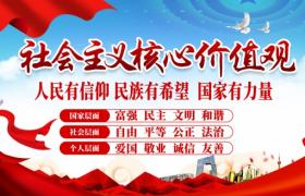 經典紅藍搭配社會主義核心價值觀海報宣傳模板