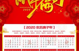 金箔創意字體設計2020鼠年福到富貴花裝飾新年掛歷海報