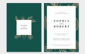 歐美風墨綠色高端婚禮邀請函請柬平面宣傳素材