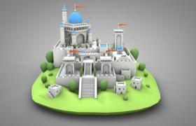 欧洲中世纪产物罗马式风格城堡C4D建筑类模型