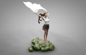 少女展开双臂踮起脚站在海边的礁石室内雕塑摆件c4d模型