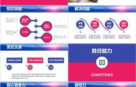 實用框架紅藍主題嚴謹商務人士崗位競聘PPT模板