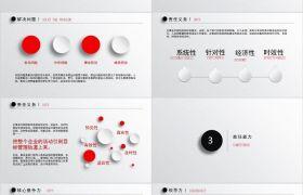 純色背景歐美風紅白主題立體球形通用競聘演講PPT模板