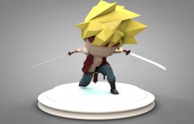 双刃战士动漫人物3维雕像C4D模型素材下载