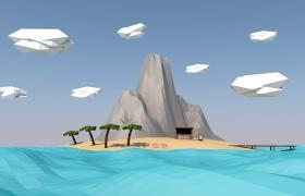 四面环海的夏威夷风情小岛海滩度假圣地低面体C4D模型
