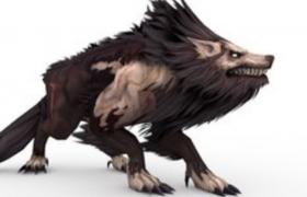 頂級掠食者基奈山狼長毛變異體游戲角色C4D模型(綁定+動畫)