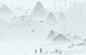古風水墨畫千山鳥飛絕萬徑人蹤滅詩文舞臺背景視頻素材