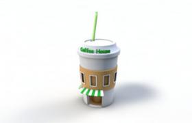 咖啡奶茶店创意性杯状环形设计卡通建筑C4D模型