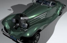 1936年款奔馳540K貴族軍官專用復古老爺車C4D模型