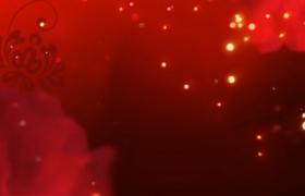 红色背景金色粒子凋零唯美喜庆舞台背景视频素材下载