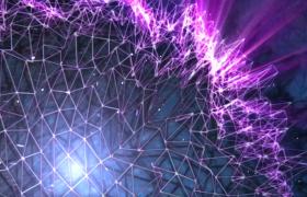 4K紫色三维线条连线立体图形旋转唯美科技宣传背景视频素材