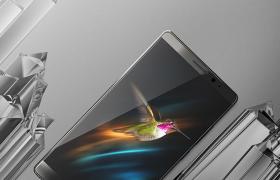 华为手机建模:水晶体材质背景雅黑款式C4D模型展示