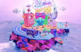 少儿奇幻色彩动画梦工厂冷色调卡通岛C4D场景模型