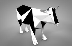 黑白平面设?#39057;?#38754;立体奶牛C4D模型(含贴图)