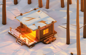 茫茫雪地中燃著火光的小木屋低面體C4D場景模型