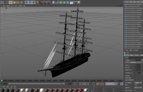 C4D近現代交通工具建模:復古大型帆船高精度模型(含材質圖片)