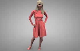时尚品牌时尚服装展低面体女性人物角色C4D模型