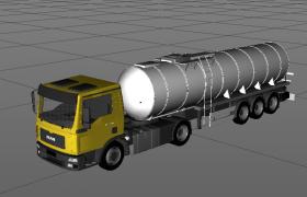 75°灯光照射效果工业流动油罐运输车C4D模型