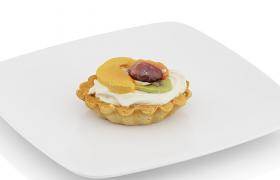 水果+奶油拉花西式烘培蛋撻盤中食物C4D模型