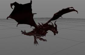 卡瓦格博峰重爪恶魔飞龙C4D模型(带长效起飞绑定动画)