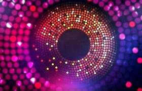 红色绚丽圆形同心旋转灯光秀唯美大气的背景视频素材