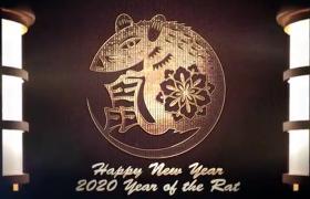中国春节2020年创意生肖鼠年吉祥开场动画AE模板