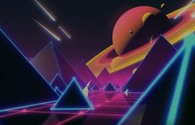 科技太空四棱锥峡谷穿梭土星远眺高清MG动画视频素材