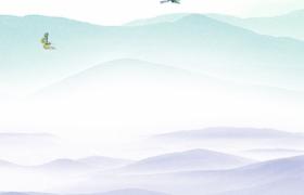 连绵群山池塘荷花绽放鲤鱼水中嬉戏古风水墨绘制vsp海报背景参考