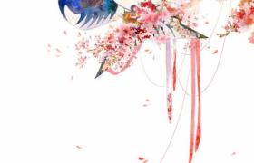 psd精美国风设计纸鸢悬挂枝头唯美艳丽海报背景素材