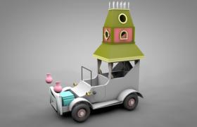 卡通儿童玩具可爱创意设计欧式风格小卡车C4D模型