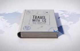3版3D效果地图书本打来翻出旅游度假景点和标志AE模板