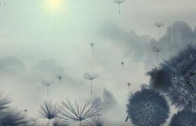 中國風唯美水墨蒲公英飛舞動態高清CG視頻素材