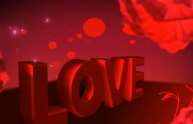红色LOVE爱情鲜花生长绽放婚礼恋爱高清视频素材
