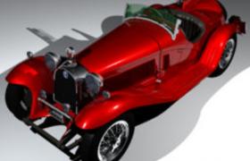1931年阿尔法罗密欧8C2300复古轿车C4D模型(含贴图)
